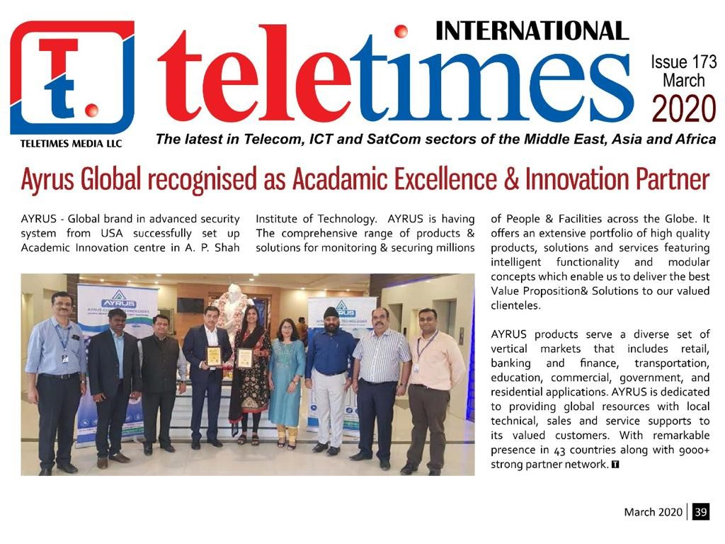 1 FEB 2020, AYRUS INDIA SETUP ACADEMIC INNOVATION CENTRE IN A.P. SHAH INSTITUTE OF TECHNOLOGY