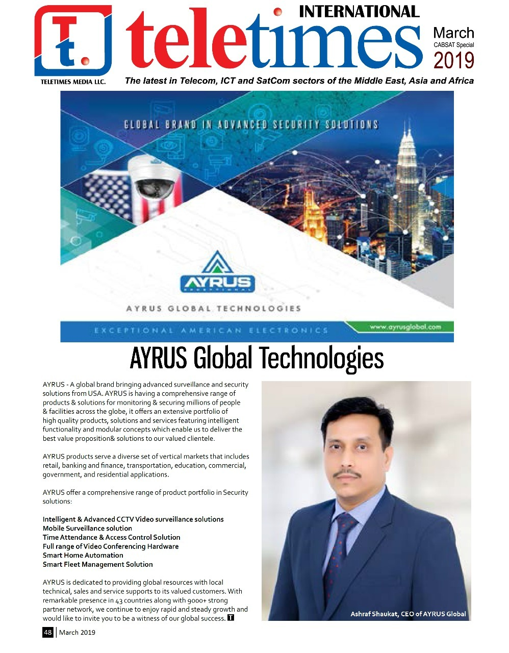 MAR 2019 MIDDLE EAST LARGEST SELLING PUBLICATION SHOWCASE AYRUS GLOBAL IN THEIR MARCH EDITION